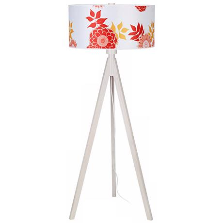 Lights Up! Woody Pickled Anna Red Shade Floor Lamp