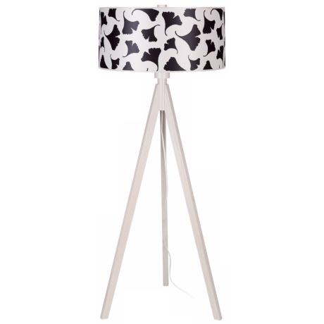 Lights Up! Woody Pickled Black Ginko Leaf Shade Floor Lamp
