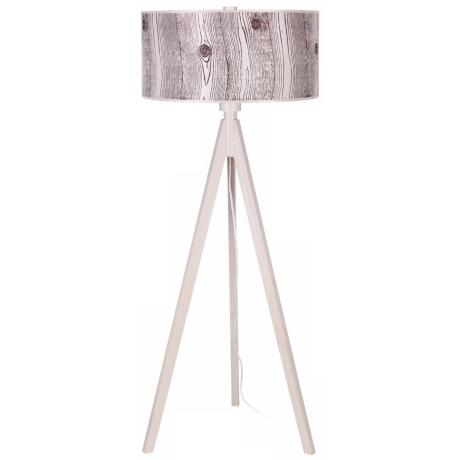 Lights Up! Woody Pickled Faux Bois Shade Floor Lamp