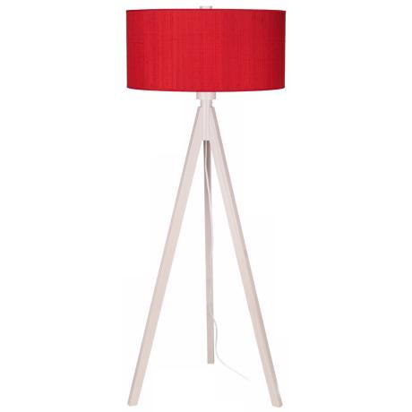 Lights Up! Woody Pickled Red Dupioni Silk Shade Floor Lamp