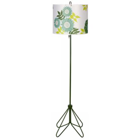 Lights Up! Flight Forest Green & Anna Green Shade Floor Lamp