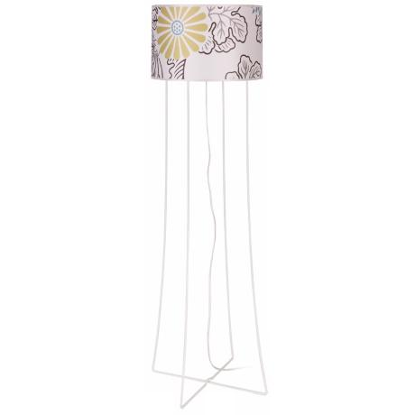Lights Up! Virgil White Steel Kimono Shade Floor Lamp