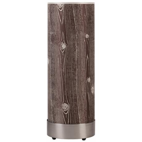 Lights Up! Meridian Nickel Faux Bois Dark Shade Table Lamp