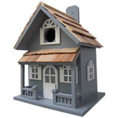 Country Cottage Hand-Painted Blue Birdhouse