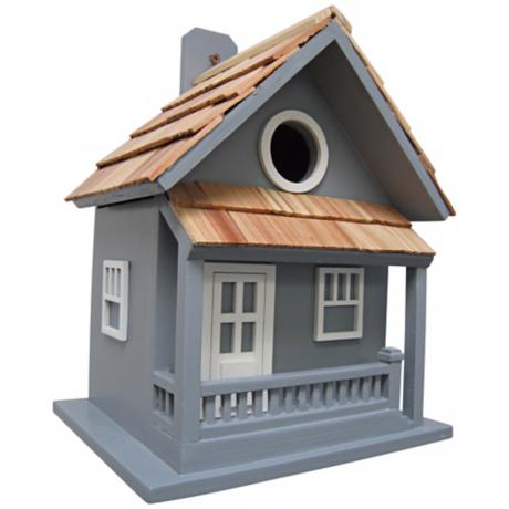 Little Cabin Hand-Painted Blue Birdhouse
