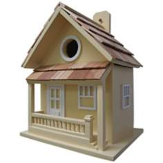 Little Cabin Hand-Painted Yellow  Birdhouse