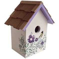 Hand-Painted Red Cedar Top Anemone Cream Birdhouse