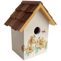 Hand-Painted Red Cedar Top Lily Cream Birdhouse