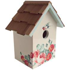Hand-Painted Red Cedar Top Peony Cream Birdhouse