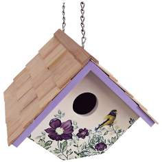 Hanging Anemone and Cream  Wren Birdhouse