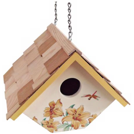 Hanging Lily and Cream  Wren Birdhouse