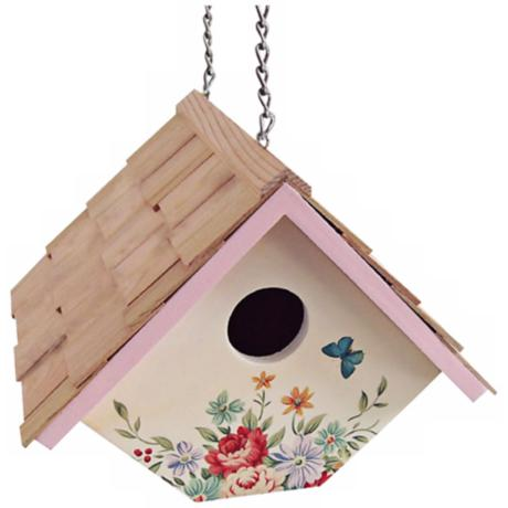 Hanging Pastel Bouquet and Cream  Wren Birdhouse