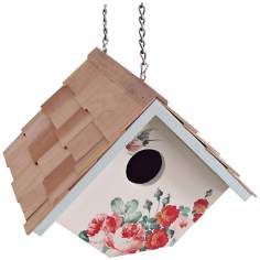 Hanging Peony and Cream  Wren Birdhouse