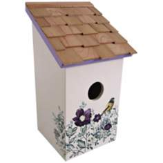 Hand-Painted Salt Box Peony and Cream Birdhouse