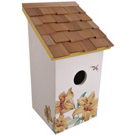 Hand-Painted Salt Box Lily and Cream Birdhouse