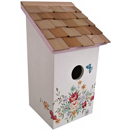 Hand-Painted Salt Box Pastel Bouquet and Cream Birdhouse
