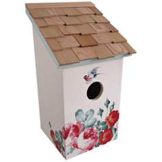 Hand-Painted Salt Box Poppies and Cream Birdhouse