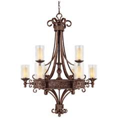 Squire Collection Crusted Umber Finish 9-Light Chandelier