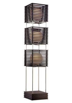 Possini Euro Three Tier Wood Slat Frosted Glass Floor Lamp