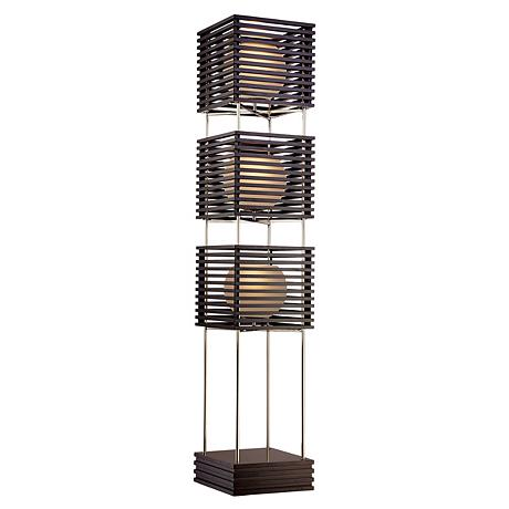 Possini euro three tier wood slat frosted glass floor lamp for 3 tier floor lamp