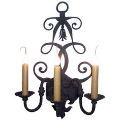 "Laura Lee Fleur De Lis 3-Light 26"" High Wall Sconce"