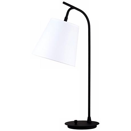 Lights Up! White Linen Shade Walker Table Lamp