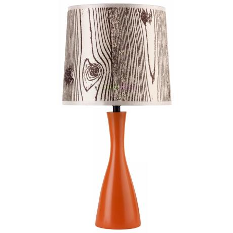 Lights Up! Faux Bois Shade Carrot Finish Oscar Table Lamp