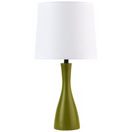 Lights Up! Linen Shade Grass Finish Oscar Table Lamp