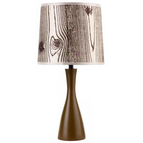Lights Up! Faux Bois Shade Olive Finish Oscar Table Lamp