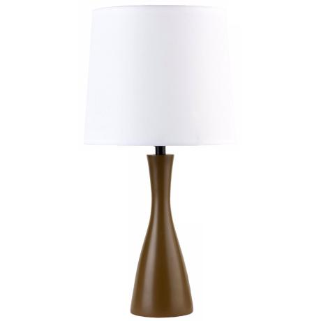 Lights Up! Linen Shade Olive Finish Oscar Table Lamp