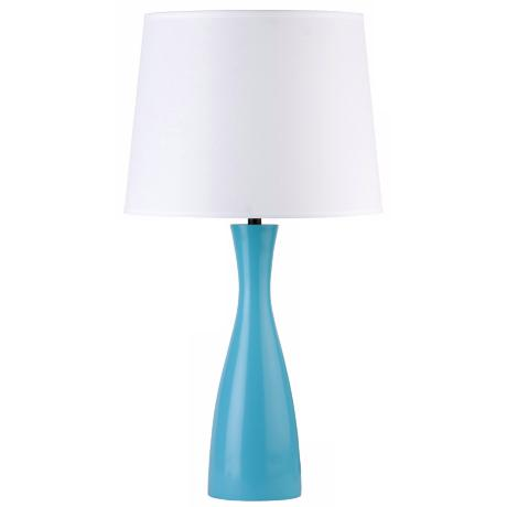 "Lights Up! Linen Shade Blue Oscar 24"" High Table Lamp"