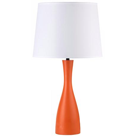 "Lights Up! Linen Shade Carrot Oscar 24"" High Table Lamp"