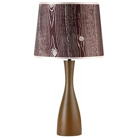 "Lights Up! Faux Bois Shade Olive Oscar 24"" High Table Lamp"