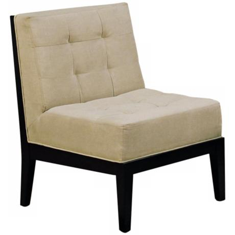 Dupont Espresso Tufted Armless Accent Chair