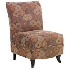 Malibu Brown Floral Armless Club Chair
