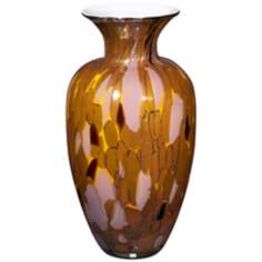 "Modern Glass 13"" High Copper Lavender Amber Glass Vase"