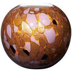 "Modern Glass 7"" High Copper Lavender Amber Glass Vase"