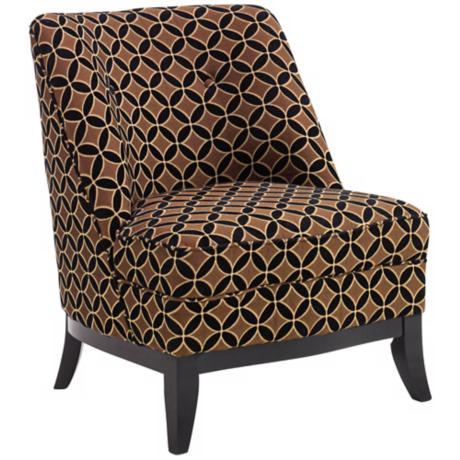 Jester Chocolate Gold Armless Club Chair