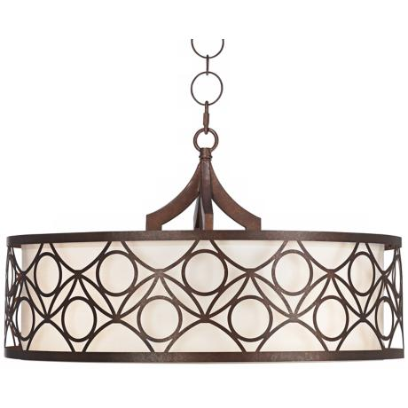Bronze Metal Clay Sandstone Fabric Drum Shade Chandelier