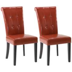 Set of 2 Tuxford Burnt Sienna Bicast Leather Dining Chairs