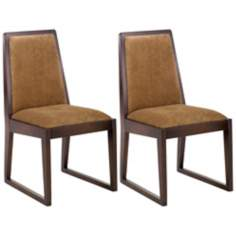 Set of 2 Oblique Collection Tobacco Side Chairs