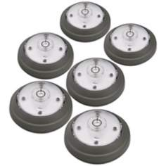 Set of 6 Gray Finish 5 LED Puck Lights