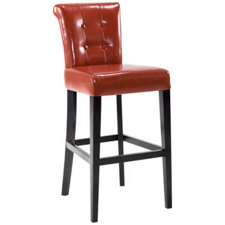 "Sangria Burnt Sienna Bicast Leather 30"" High Bar Stool"