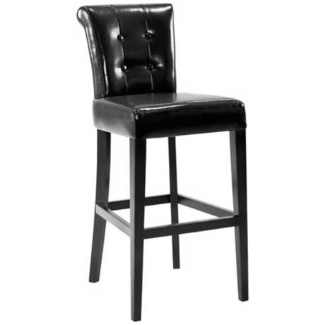 "Sangria Tufted Black Bicast Leather 26"" Counter Stool"