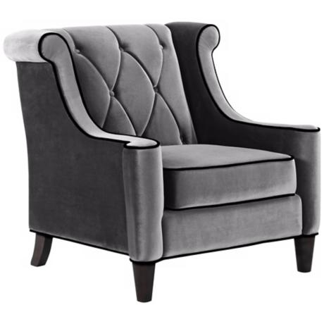 Barrister Gray Velvet Club Chair