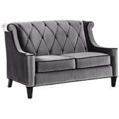 Barrister Gray Velvet Love Seat
