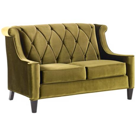 Barrister Green Velvet Love Seat