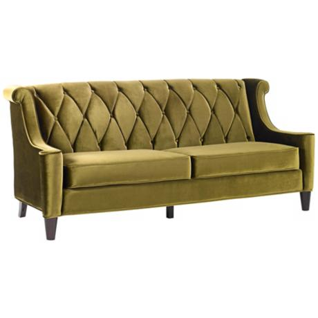 Barrister Green Velvet Sofa