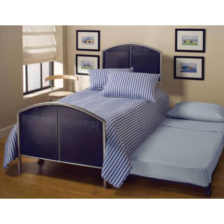 Hillsdale Universal Mesh Silver and Navy Trundle Bed (Twin)