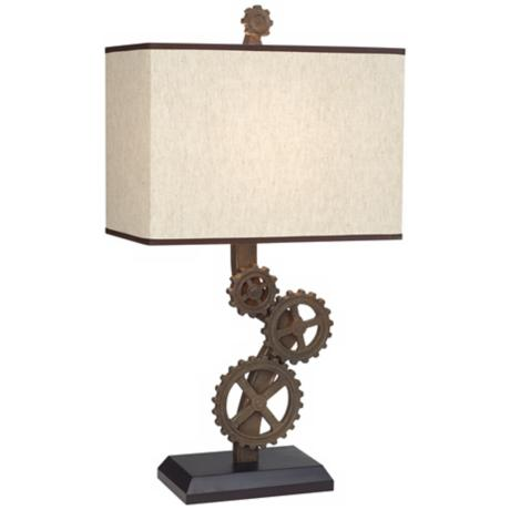 Rust Finish Industrial Gears Rectangle Shade Table Lamp